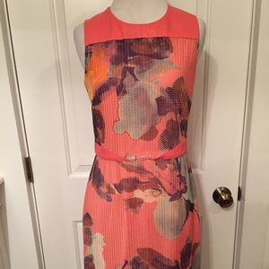 ALI RO coral print sleeveless dress with leather 6